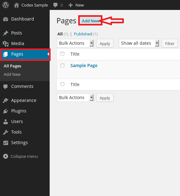 Add new page in WordPress CMS. Create Page or Add Page WordPress. WordPress admin panel add new page or create a new page WYSIWYG