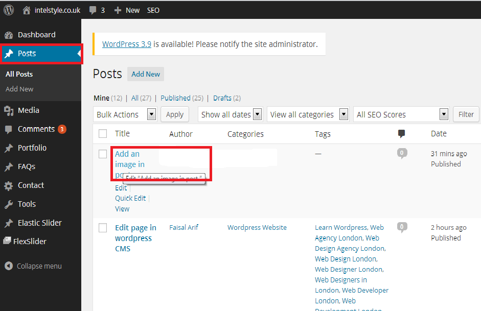Add an image in post. WordPress post add image simple steps
