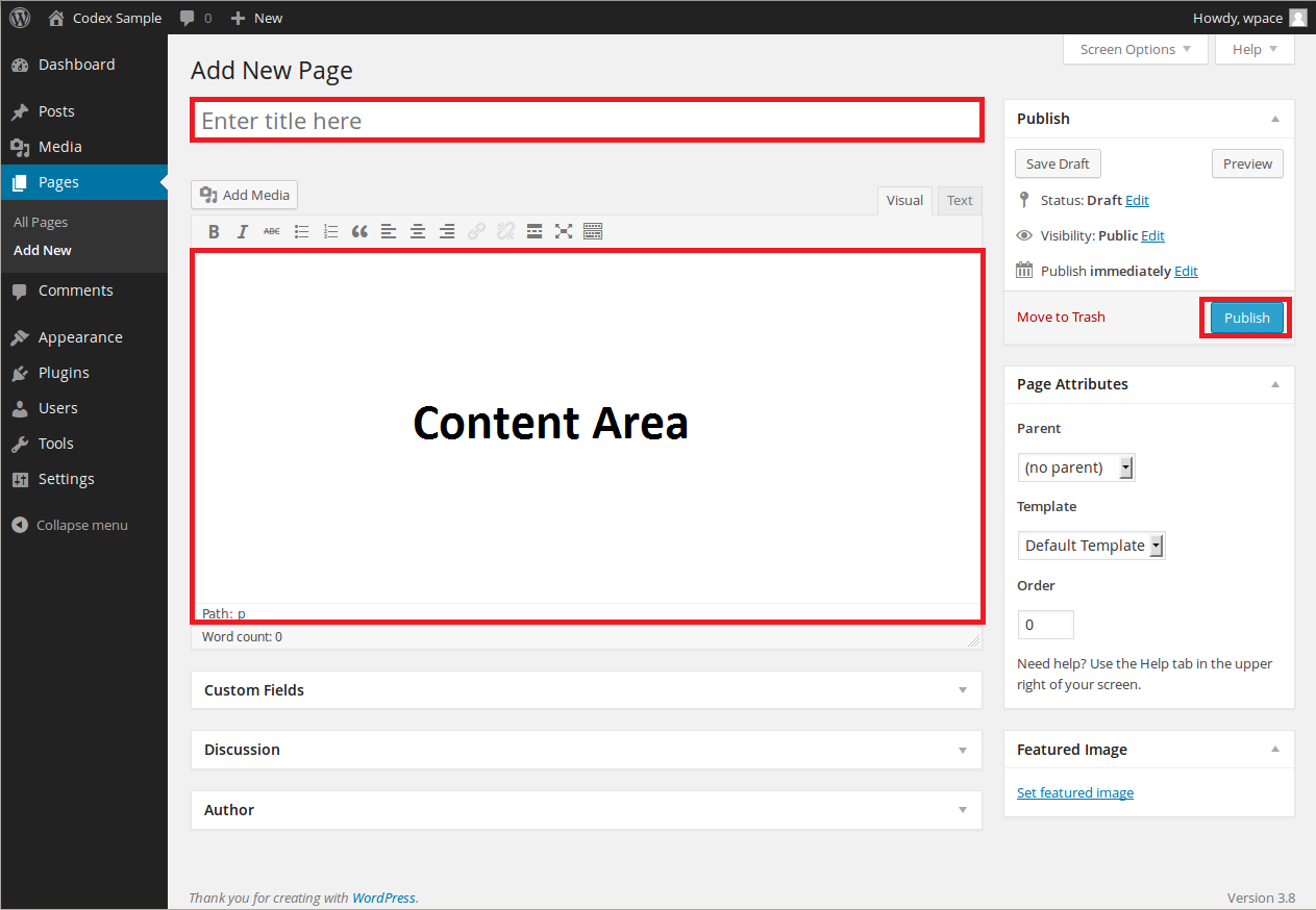 Add new page in WordPress CMS. Create Page or Add Page WordPress. WordPress page title, page content area, WYSIWYG and publish button.