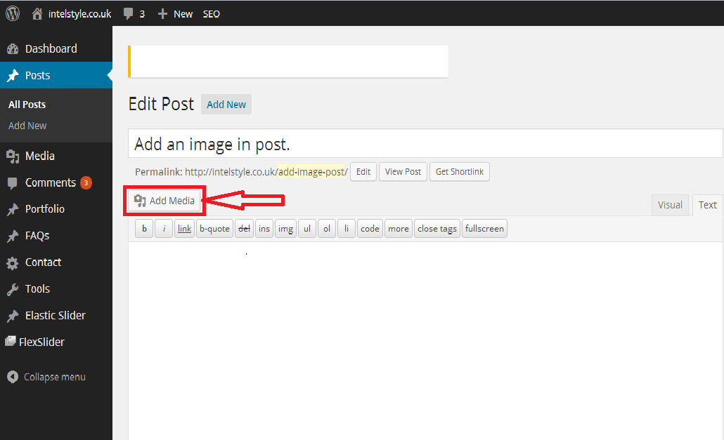 Add an image in post. WordPress post add image by add media.