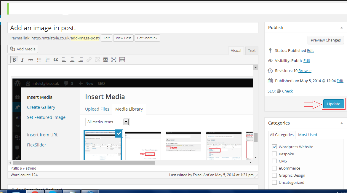 Add an image in post.Inser an image in wordpress post.update the post.