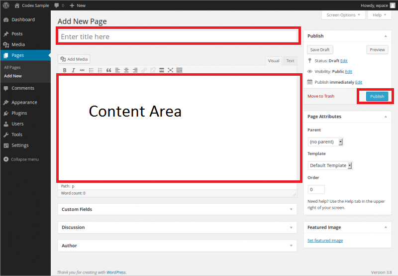 Add new page in WordPress CMS. Create Page or Add Page WordPress. WordPress page title, page content area, WYSIWYG and publish button