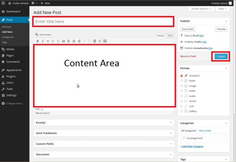 Add new post in WordPress CMS. Create Post or Add Post WordPress.Wordpress post title, post content area, and publish button