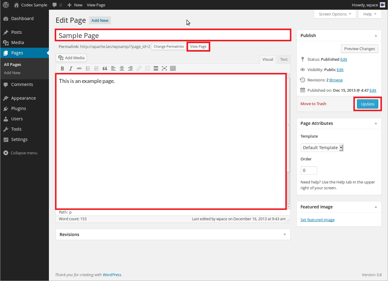 Edit page in wordpress CMS.Edit wordpress page cms update it.