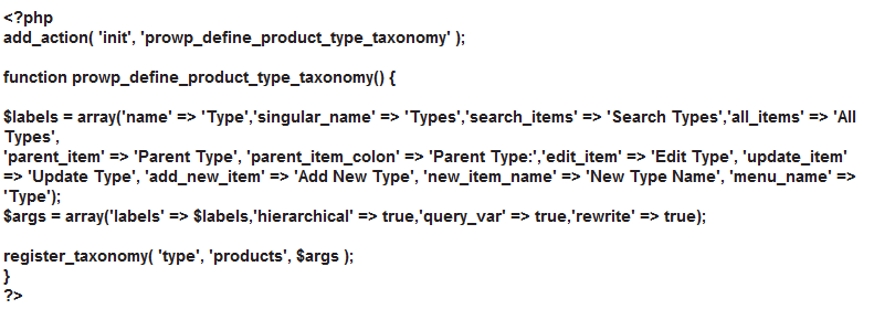 custom taxonomy registration code