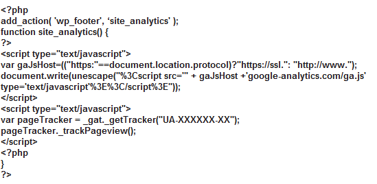 Analytics tracking code use in header. By add_action() function.