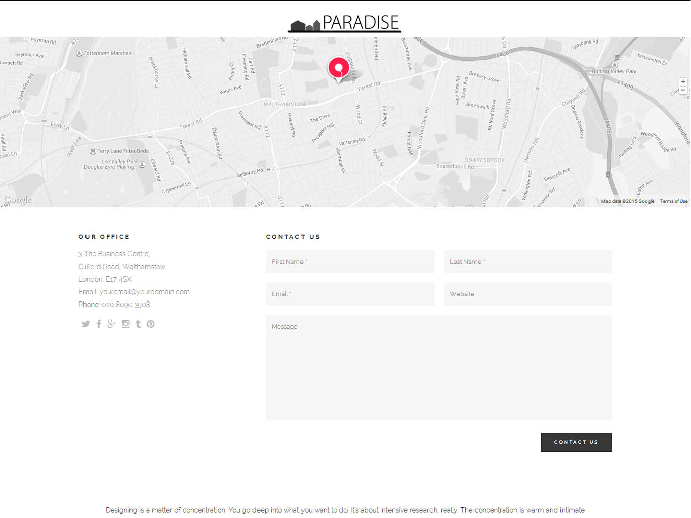 paradise website design-contact